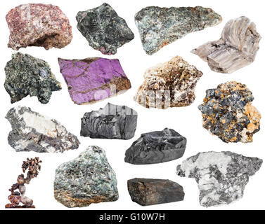 set of various natural mineral stones and rocks - baryte, barite, bismuthinite, bismuth, molybdenite, glaucophane, - Stock Photo