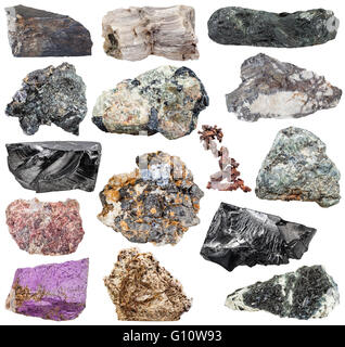 set of various natural mineral stones and rocks: purpurite, molybdenite, glaucophane, native, copper, magnetite, - Stock Photo