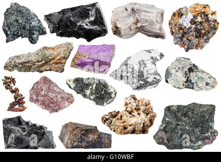 set of various natural mineral stones and rocks: copper, astrophyllite, shungite, baryte, hornblende, nepheline, - Stock Photo