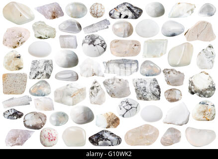 set of white and transparent natural mineral stones and gemstones isolated on white background - Stock Photo