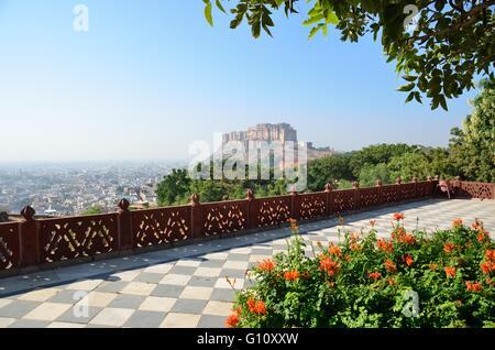 Mehrangarh Fort, as viewed from Jaswant Thada, Jodhpur, Rajasthan, India - Stock Photo