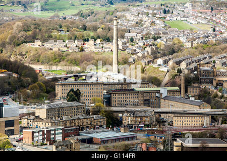 Cityscape view, of Dean Clough Mills, Halifax, Calderdale, West Yorkshire, UK - Stock Photo