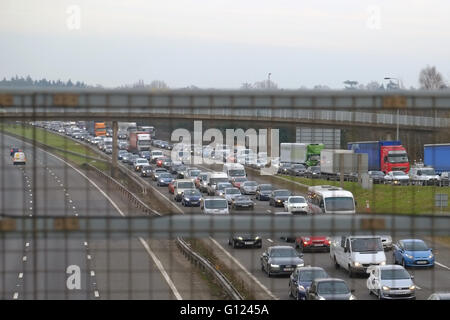Traffic jam due to an accident on the northbound M40 motorway in Warwickshire, England. - Stock Photo