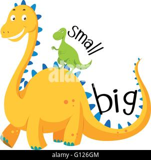 Opposite adjective big and small illustration - Stock Photo