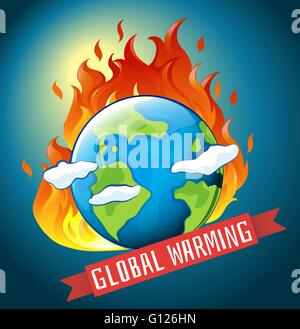 Global warming theme with earth on fire illustration - Stock Photo