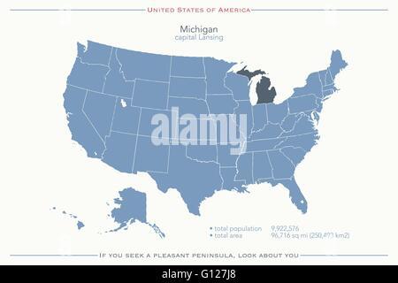 Michigan state political map Stock Photo 18324050 Alamy