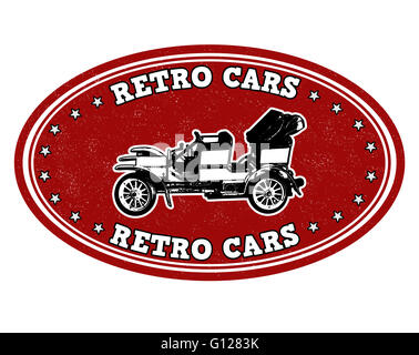Retro cars grunge rubber stamp on white, vector illustration - Stock Photo