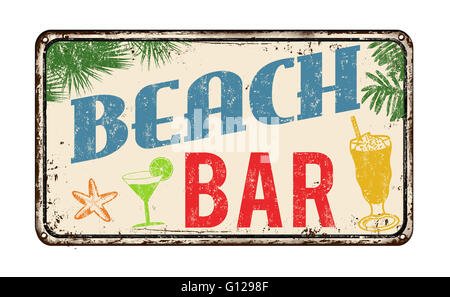 Beach bar vintage rusty metal sign on a white background, vector illustration - Stock Photo