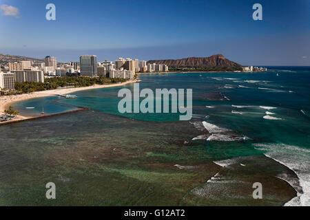 Aerial view of Ala Wai Harbor, Waikiki Beach, Hotels, Diamond Head - Stock Photo