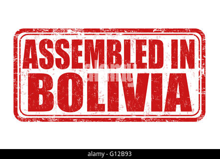 Assembled in Bolivia grunge rubber stamp on white background, vector illustration - Stock Photo
