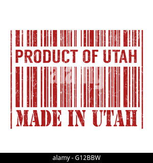 Product of Utah, made in Utah barcode grunge rubber stamp on white background, vector illustration - Stock Photo