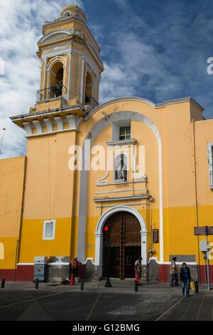 Templo del Ex-Hospital de San Roque is a 17th century Roman Catholic church in Puebla Mexico - Stock Photo