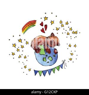 Illustration of the International Day of Mother Earth is painted in watercolor. Vector. - Stock Photo