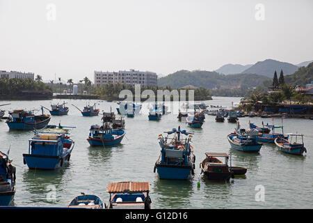 Fishing boats on the River Cai in Nha Trang Vietnam - Stock Photo