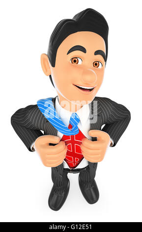 3d business people. Businessman ripping off his shirt with money sign. Isolated white background. - Stock Photo