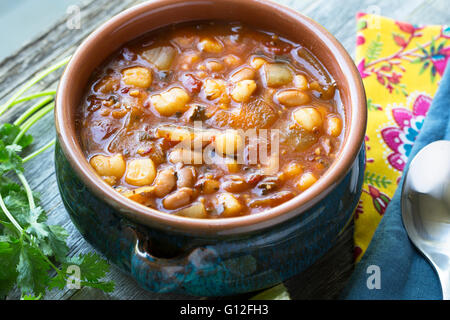 Vegan style mexican posole with hominy and pinto beans. - Stock Photo