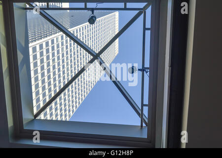 Montreal. Canada - 12 March, 2016: Skyscraper through the window in Montreal downtown. - Stock Photo