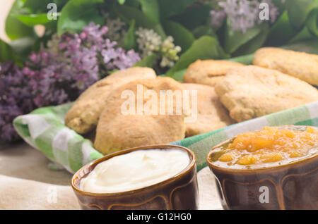 breakfast with homemade buns, jam and  cottage cheese - Stock Photo
