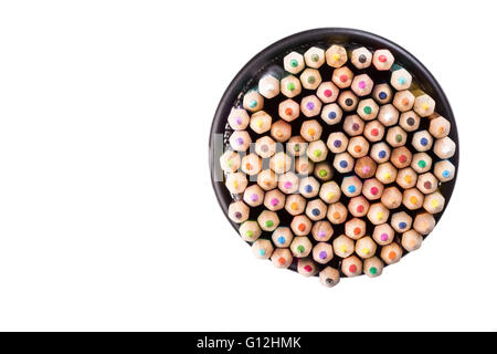 Set of color pencils in a black office bin on white background - Stock Photo