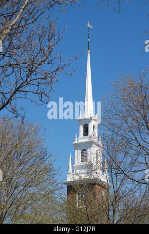 The spire of Harvard  Memorial church, Harvard University, Cambridge, Massachusetts, USA - Stock Photo