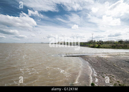The River Dee Estuary Looking towards Queensferry power station photo taken from Flint Castle - Stock Photo