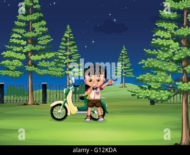 Boy and motorcycle in the park illustration - Stock Photo
