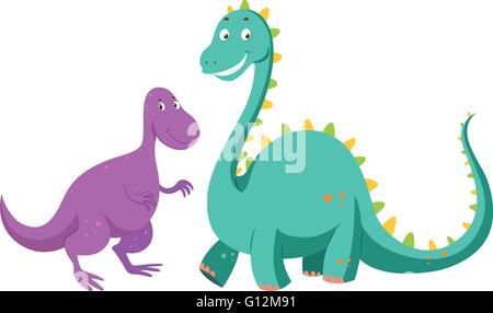 Sauropods big one and small one illustration - Stock Photo
