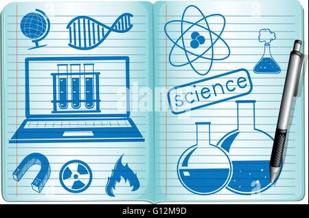 Science symbols on the notebook illustration - Stock Photo