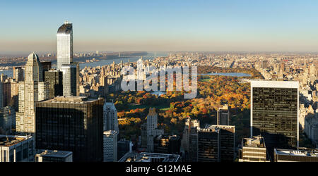 Aerial View, Central Park in Fall with Midtown skyscrapers, New York. Also includes Upper West Side, Upper East - Stock Photo