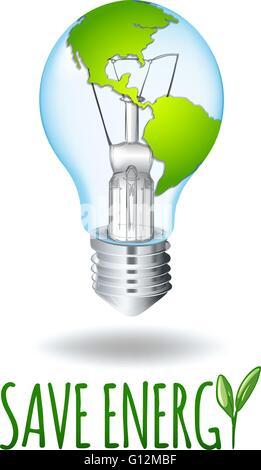 Save energy theme with earth on lightbulb illustration - Stock Photo