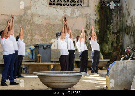 A group of elderly Cubans practice Tai Chi in a small park in Central Havana, Havana, Cuba - Stock Photo