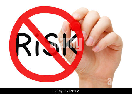 Hand drawing Risk prohibition sign concept with marker on transparent wipe board. - Stock Photo