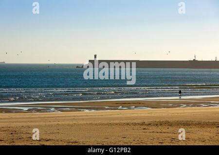 Matosinhos beach (Praia de Matosinhos) in City of Porto, Portugal - Stock Photo