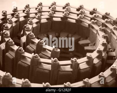 Coiled Track for an earth-moving machine like a JCB - Stock Photo