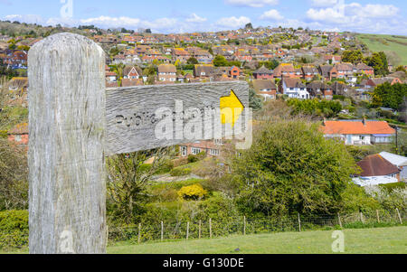 Public Footpath finger post in the British countryside in East Dean, East Sussex, England, UK. - Stock Photo
