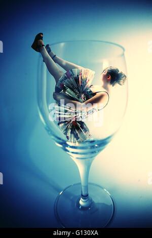 Girl in glass fashion photoshoot - Stock Photo