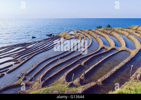 Shiroyone Senmaida rice fields near Wajima on Noto Hanto, Japan - Stock Photo