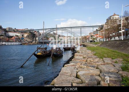 Portugal, city of Porto and Vila Nova de Gaia, Rabelo traditional Portuguese boats for wine transport on Douro river, - Stock Photo