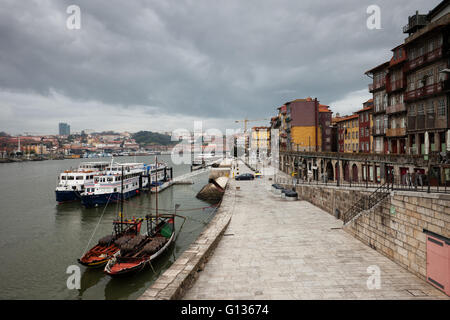 Portugal, city of Porto (Oporto), Old Town, tour, cruise and traditional Rabelo boats on Douro River, promenade, - Stock Photo