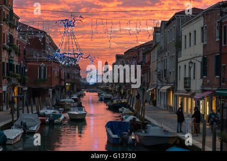 Sunset from the Ponte de Mezo  in Murano, Italy, - Stock Photo