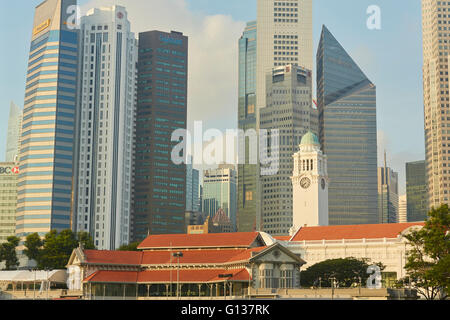 Singapore Cricket Club, Victoria Theatre And The Central Business District Skyline. - Stock Photo