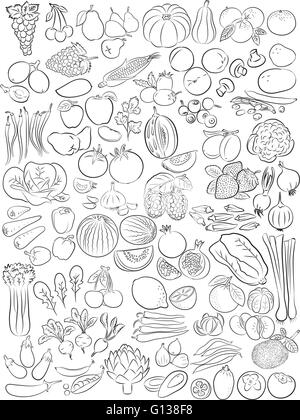 Vector illustration of fruits and vegetables in line art mode - Stock Photo
