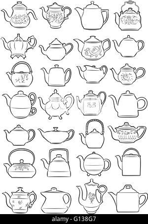 Vector illustration of teapots in line art mode on white background - Stock Photo