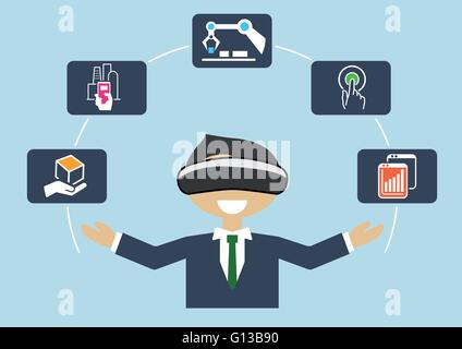 Virtual reality for industrial internet of things (IOT) and advanced business processes automation - Stock Photo