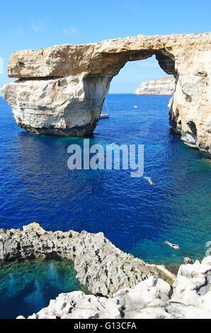 The Azure Window and the Blue Hole on Gozo island - Stock Photo