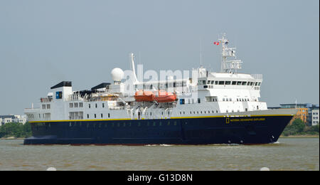 N G Explorer is a small cruise ship owned by National Geographic and operated by Lindblad Expeditions on various - Stock Photo