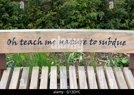 an alexander pope quote, from the poem eloisa to abelard, on a bench in twickenham, middlesex, england - Stock Photo