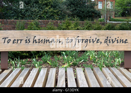 an alexander pope quote, from an essay on criticism, on a bench in twickenham, middlesex, england - Stock Photo