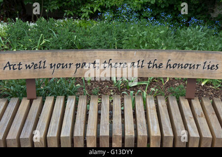 an alexander pope quote, from an essay on man, on a bench in twickenham, middlesex, england - Stock Photo