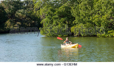 A woman kayaks along a waterway at Lovers Key State Park in Florida - Stock Photo
